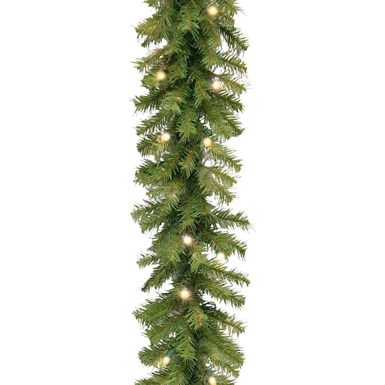 9 X 10 Pre Lit Norwood Fir Artificial Christmas Garland With 50 Battery Operated Dual Led Lights