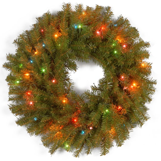 """Buy The 24"""" Norwood Fir Wreath With Multicolor Lights At"""