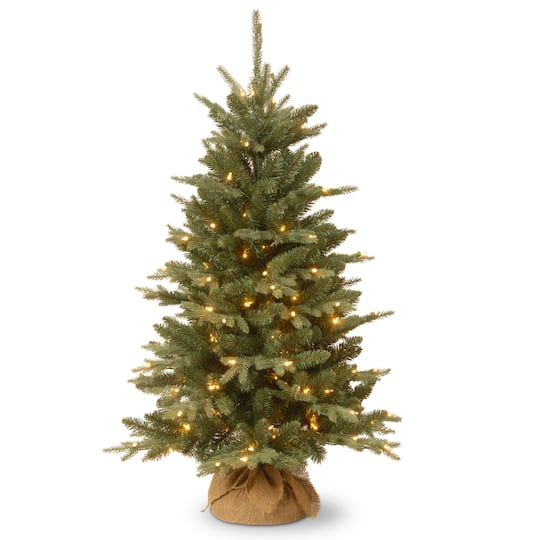 4ft Christmas Tree With Lights: 4ft. Pre-Lit Everyday Collection Burlap Tabletop