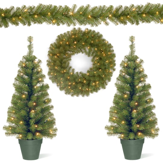 Christmas Ortment With 2 Entrance Trees Led Lights 9ft Garland 24 Wreath
