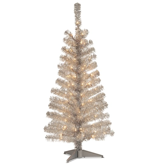 4ft Pre Lit Silver Tinsel Artificial Christmas Tree Clear Lights