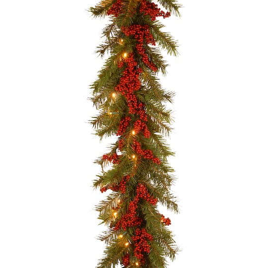 9 X 14 Pre Lit Decorative Collection Valley Pine Artificial Christmas Garland With Red Berries And 50 Soft White Battery Operated Leds With Timer