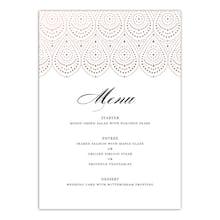 Gartner Digital® Personalized Rose Gold Filigree Flat Wedding Menu Card d543b2820f72