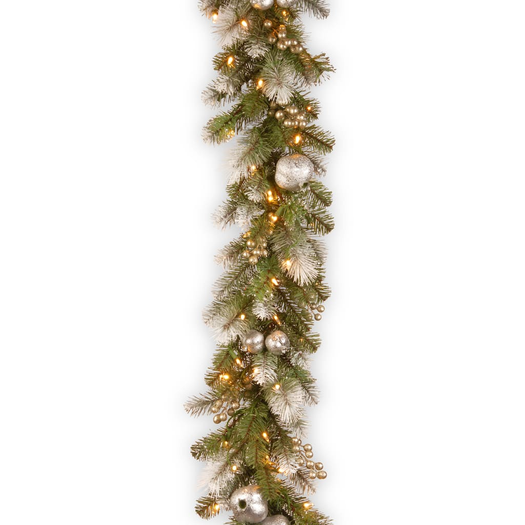 Christmas Berry Tree Hawaii: 9' Glittery Pomegranate Pine Garland With Silver