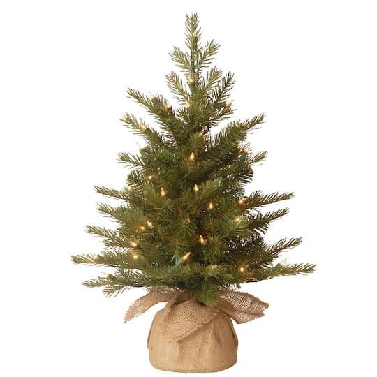 Feel Real Nordic Spruce Small Artificial Christmas Tree In Burlap Clear Lights