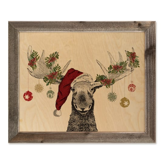 christmas moose decorations framed wood print