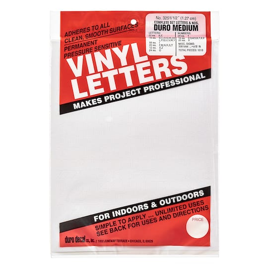 Find The Duro Vinyl Letters White At Michaels