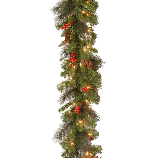 "Christmas Berry Tree Hawaii: 9' X 10"" Crestwood® Spruce Garland With Silver Bristle"