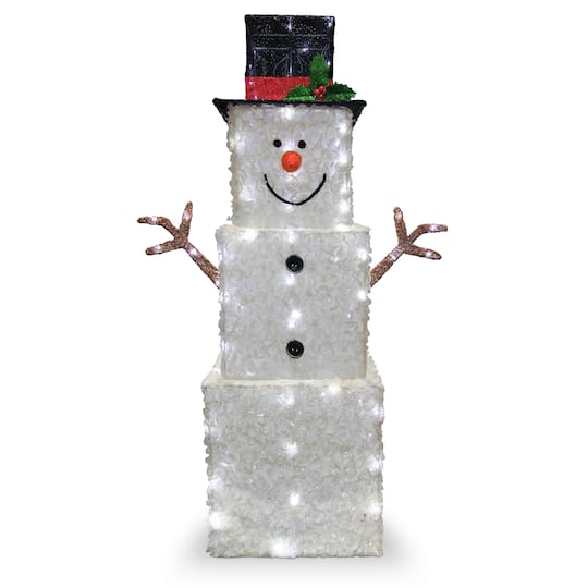 Look For The 42 Quot Glitter Square Snowman White Led Lights