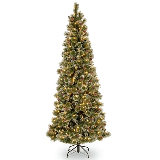 7ft pre lit glistening pine pencil slim artificial christmas tree clear lights - 7ft Slim Christmas Tree