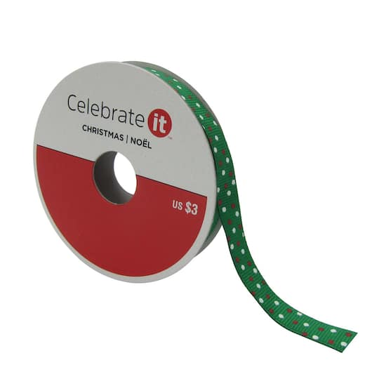 38 green grosgrain with dots christmas ribbon by celebrate it