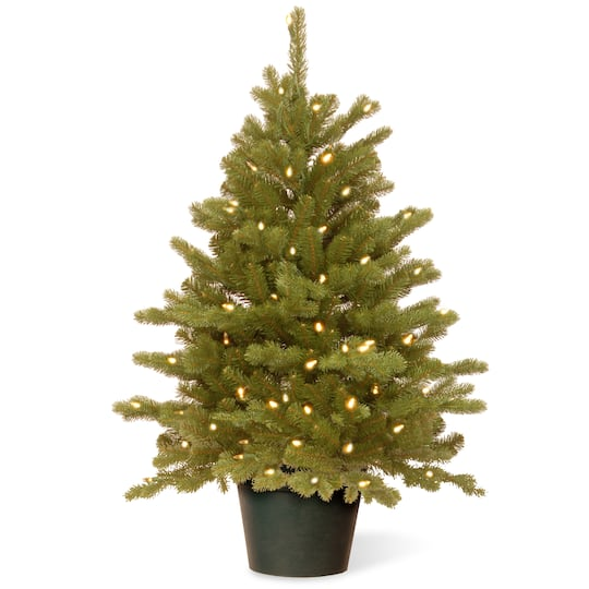 Potted Christmas Tree.3ft Pre Lit Feel Real Hampton Spruce Artificial Potted Christmas Tree Clear Lights