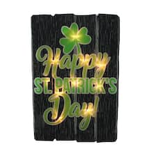 16″ Lighted Shimmering Happy St. Patrick's Day Shamrock Window Silhouette