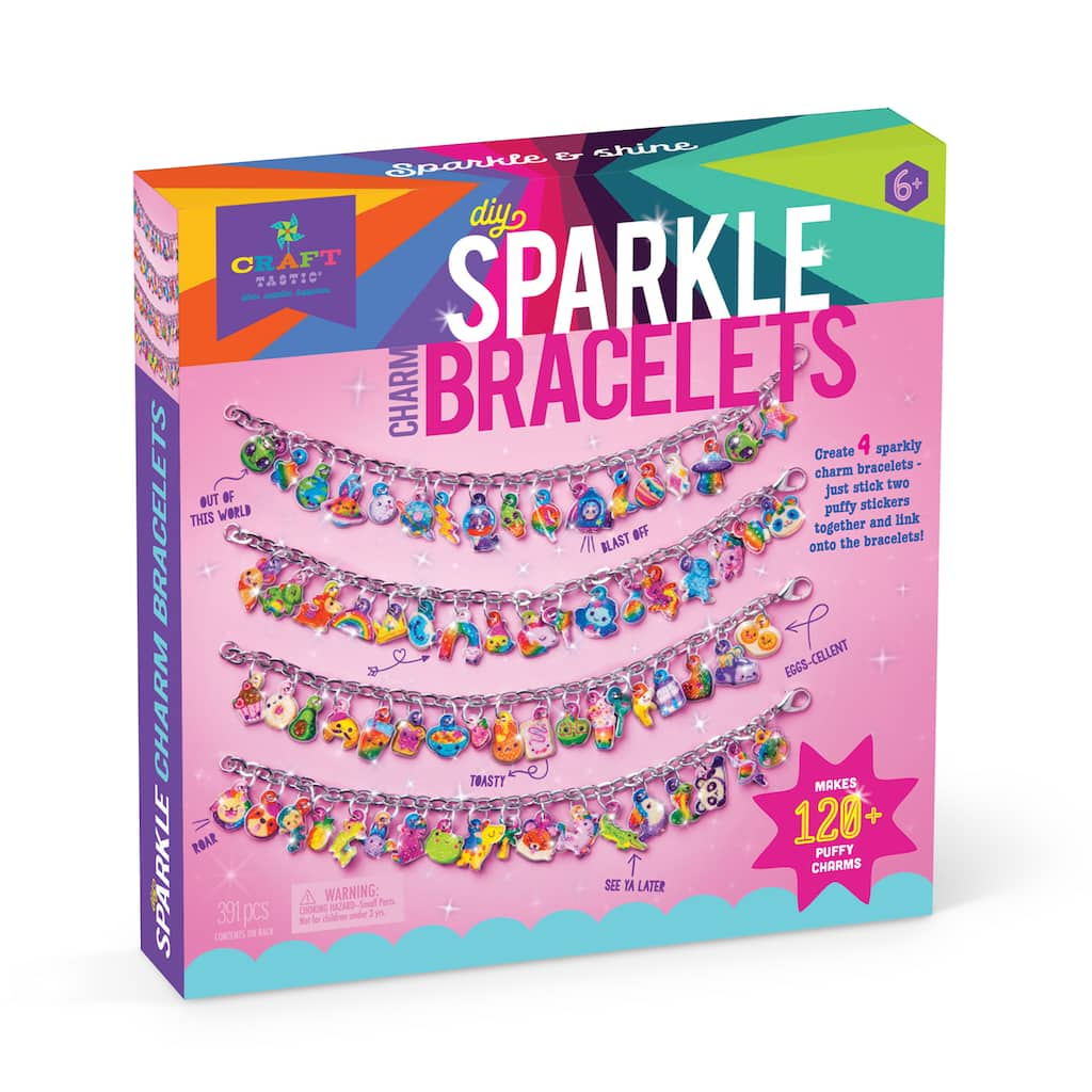 DIY Jewelry Kits Stretch Bracelets Beading Kits Party Kits Craft kits for 6 Party Girl Charm Bracelets Party Favors and Games