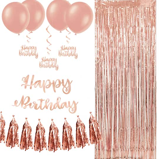 Rose Gold Party Birthday Decorations Kit 17pc