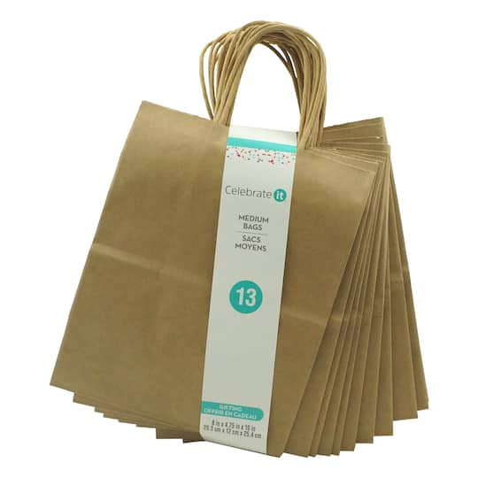 10 Natural Paper Bag Value Pack By Celebrate It