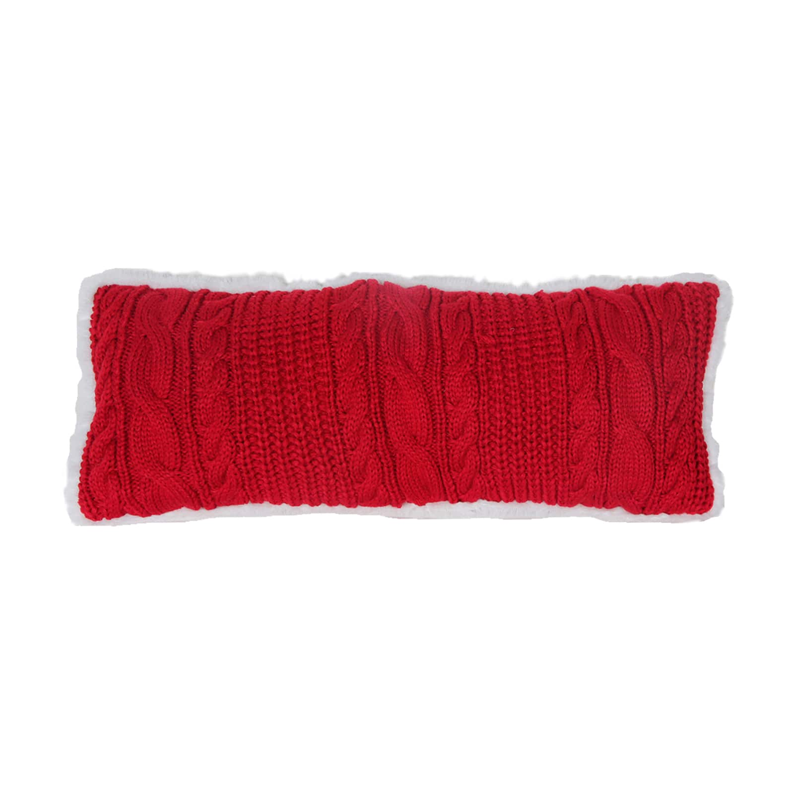 Red Cable Knit Lumbar Pillow By Ashland