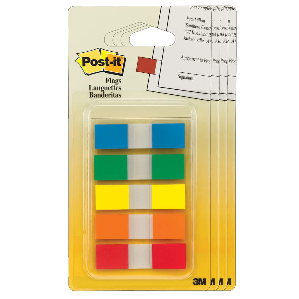 100 Yellow Total of 200 Each // Post-it : Standard Tape Flags in Dispenser 100 Flags per Dispenser -:- Sold as 2 Packs of