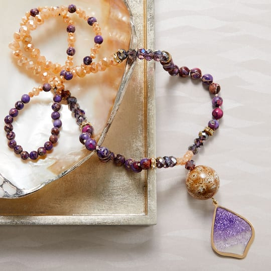 boho style lavender stone necklace polished square stones Purple Imperial jasper handmade chain tassel Stone tassel pendant necklace