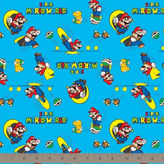 Nintendo® Mario Blue Retro Super Mario World Cotton Fabric