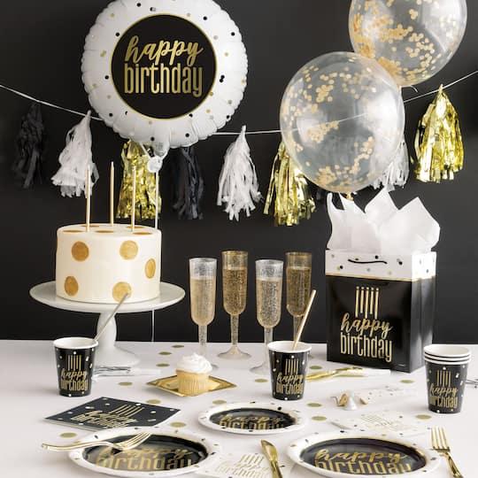 Quantity 75 Hello Sixty Black wMetallic Gold Foil Cocktail Beverage Napkins 3 Ply Happy Birthday 60th Hello 60 Metallic Gold Foil