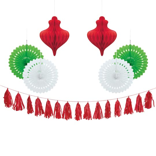 Tissue Paper Christmas Decorations 7pc