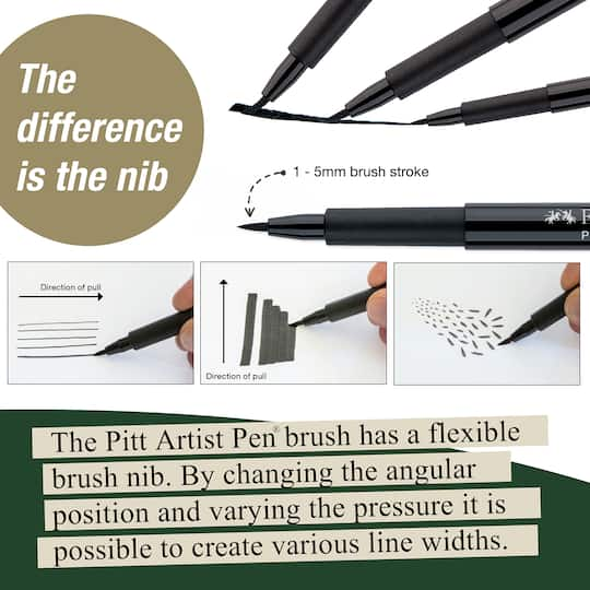 Faber-Castell PITT Artist Pen Set Black XS//S//F//M//B//SC//C//1.5 8pk