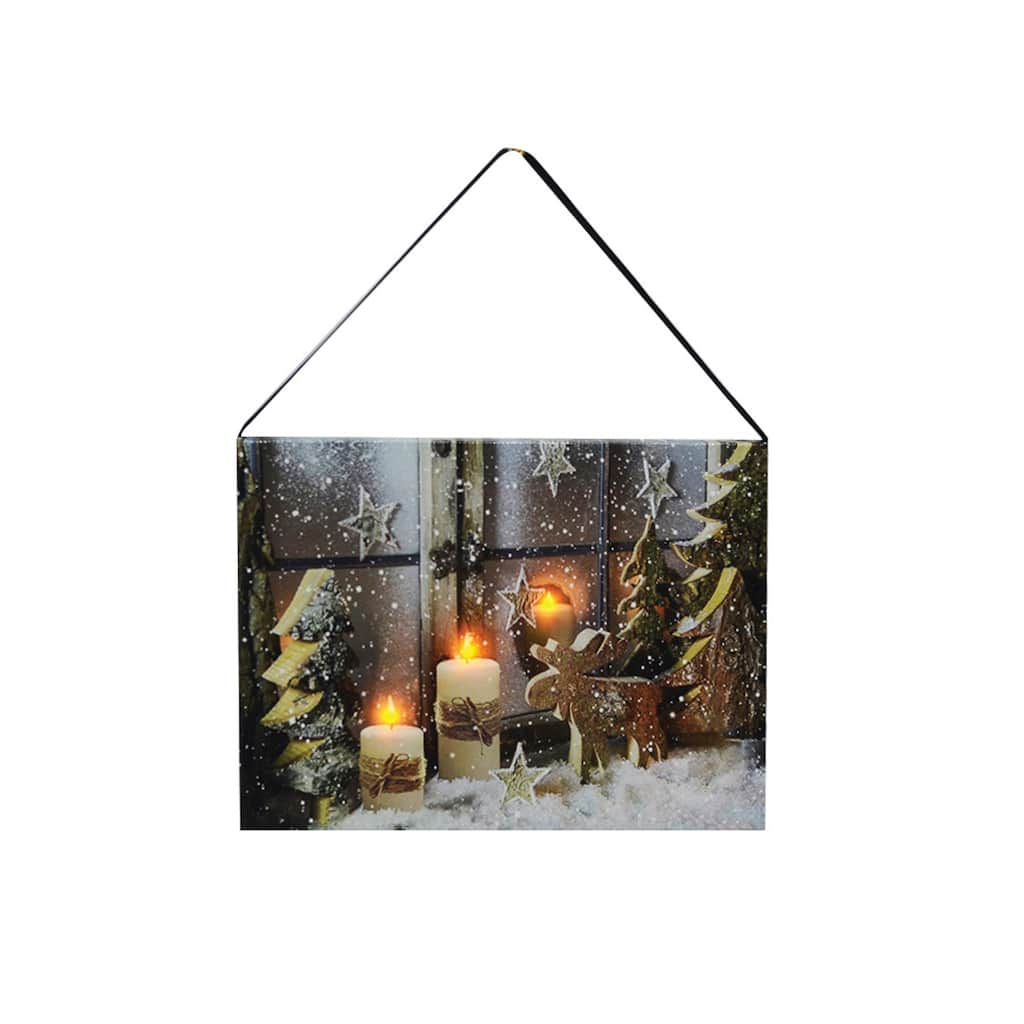 Christmas Led Canvas.Darice Snowy Scene With Candles Christmas Led Canvas