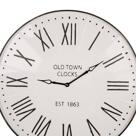 Purchase The Glitzhome 31 5 Oversized Farmhouse Metal Enamel Wall Clock At Michaels