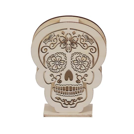 55 Wooden Skull Led Décor By Artminds