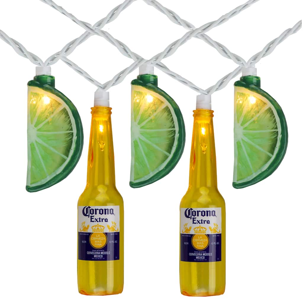 10ct Corona Extra Beer Bottle Lime String Lights Michaels