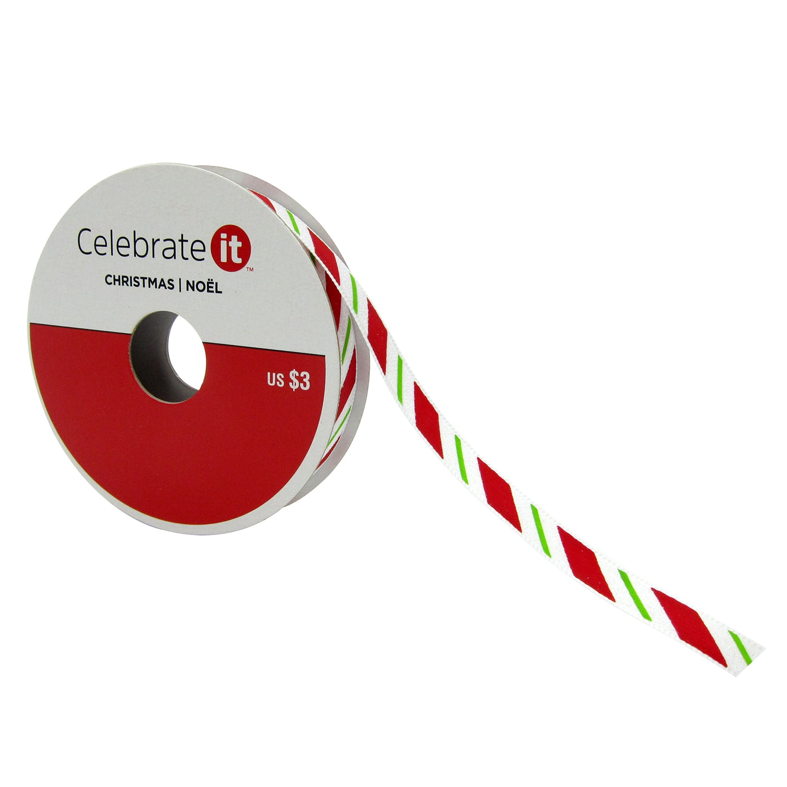"""Celebrate It Christmas Multi Color Ribbon 3//8/"""" x  3yd New"""