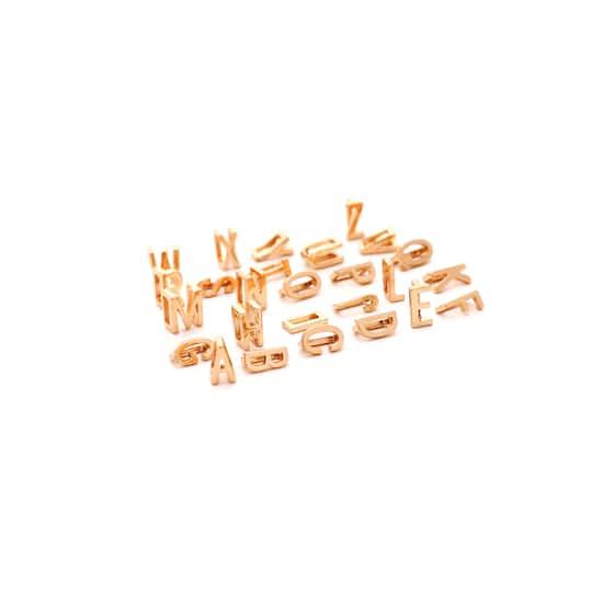 10mm Initial Gold Letter Slide Charms Gold Diamanté Alphabet X 5 Pcs   New