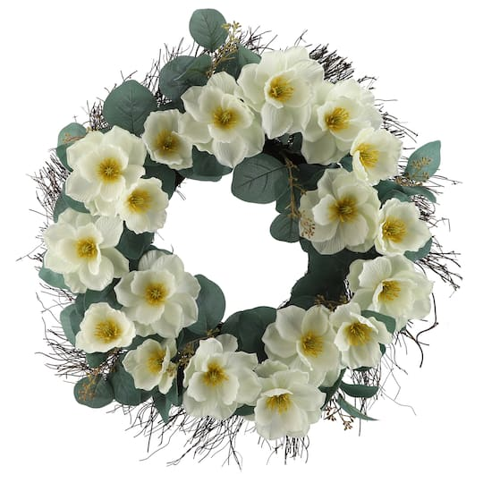 "22"" White Magnolia Wreath by Ashland®"