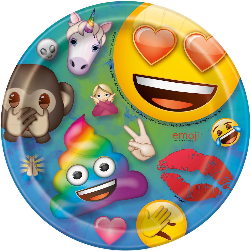 7 Emoji Party Plates 8ct Img