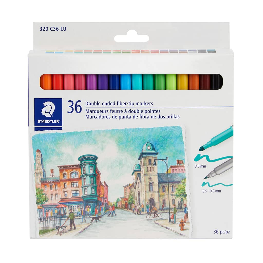 Staedtler duo tips washable markers wallet of 12 colors Dual fine /& broad tip coloring pens