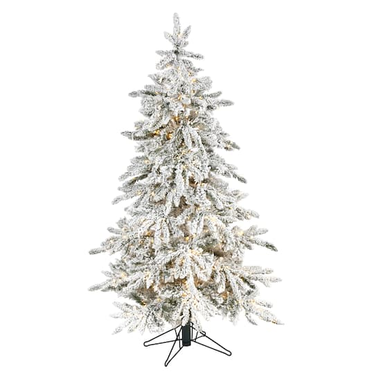 5ft Pre Lit Flocked Grand Northern Rocky Fir Artificial Christmas Tree Warm White Micro Led Lights Michaels