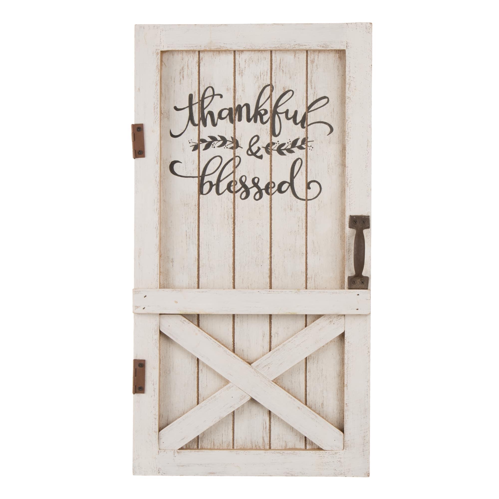 Glitzhome® White Wooden Thanksgiving Barn Door Décor by Glitzhome