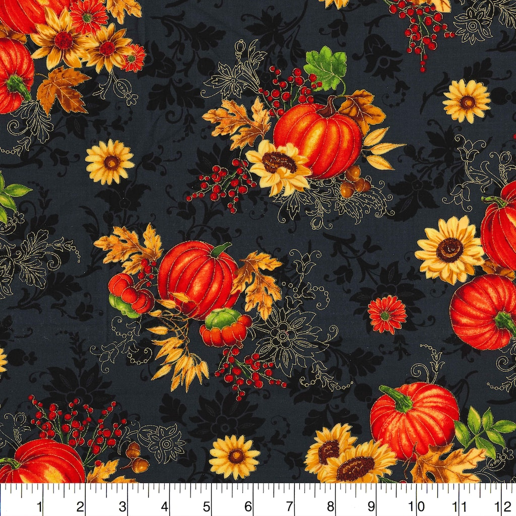 Find the Fabric Traditions Fall Harvest Bounty Black Glitter Home Décor  Fabric at Michaels.com