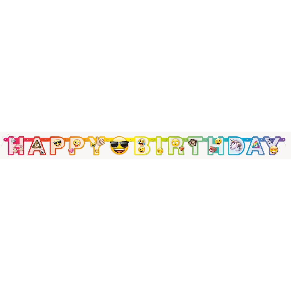 Rainbow Fun Emoji Birthday Banner 6 Ft Img