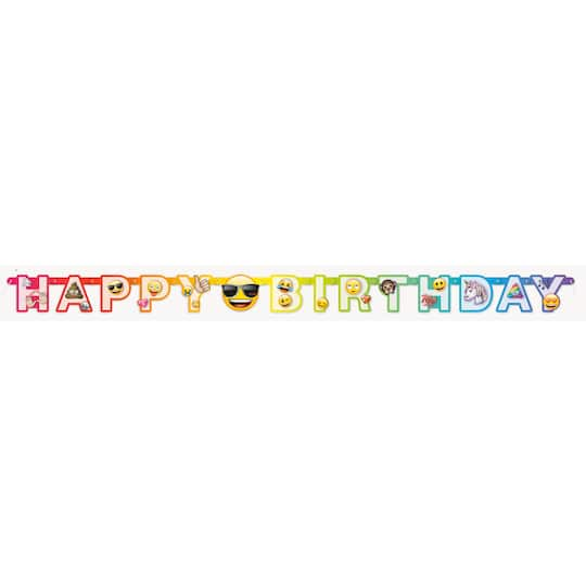 Rainbow Fun Emoji Birthday Banner 6 Ft