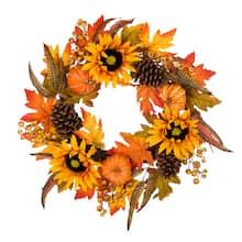 "Shop Glitzhome® 24"" Yellow & Orange Sunflower Wreath from Michael's on Openhaus"