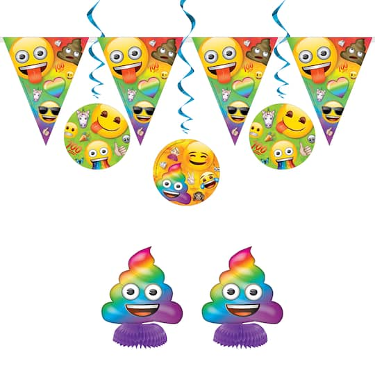 Rainbow Fun Emoji Party Decorating Kit 7pc Img
