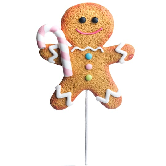 Gingerbread Man With Candy Cane Pick By Ashland