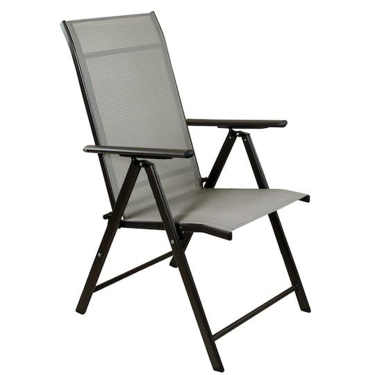 Excellent 40 Brown Steel And Mesh Foldable Reclining Patio Arm Chair Frankydiablos Diy Chair Ideas Frankydiabloscom