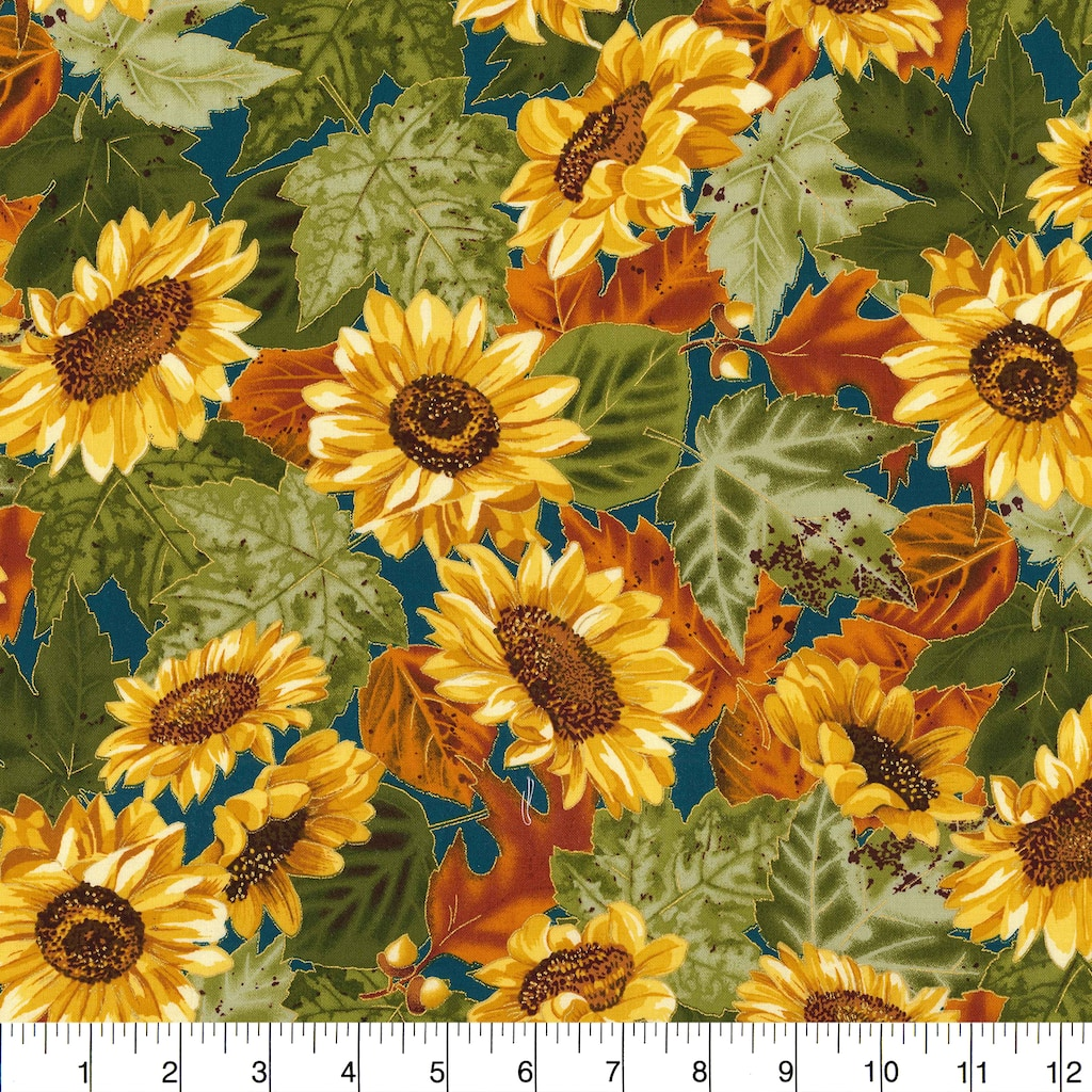 Find the Fabric Traditions Fall Sunflowers Teal Cotton Home Décor Fabric at  Michaels.com