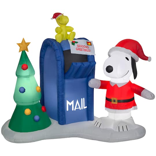 Christmas Snoopy.4 5ft Airblown Inflatable Christmas Snoopy Woodstock With Mailbox
