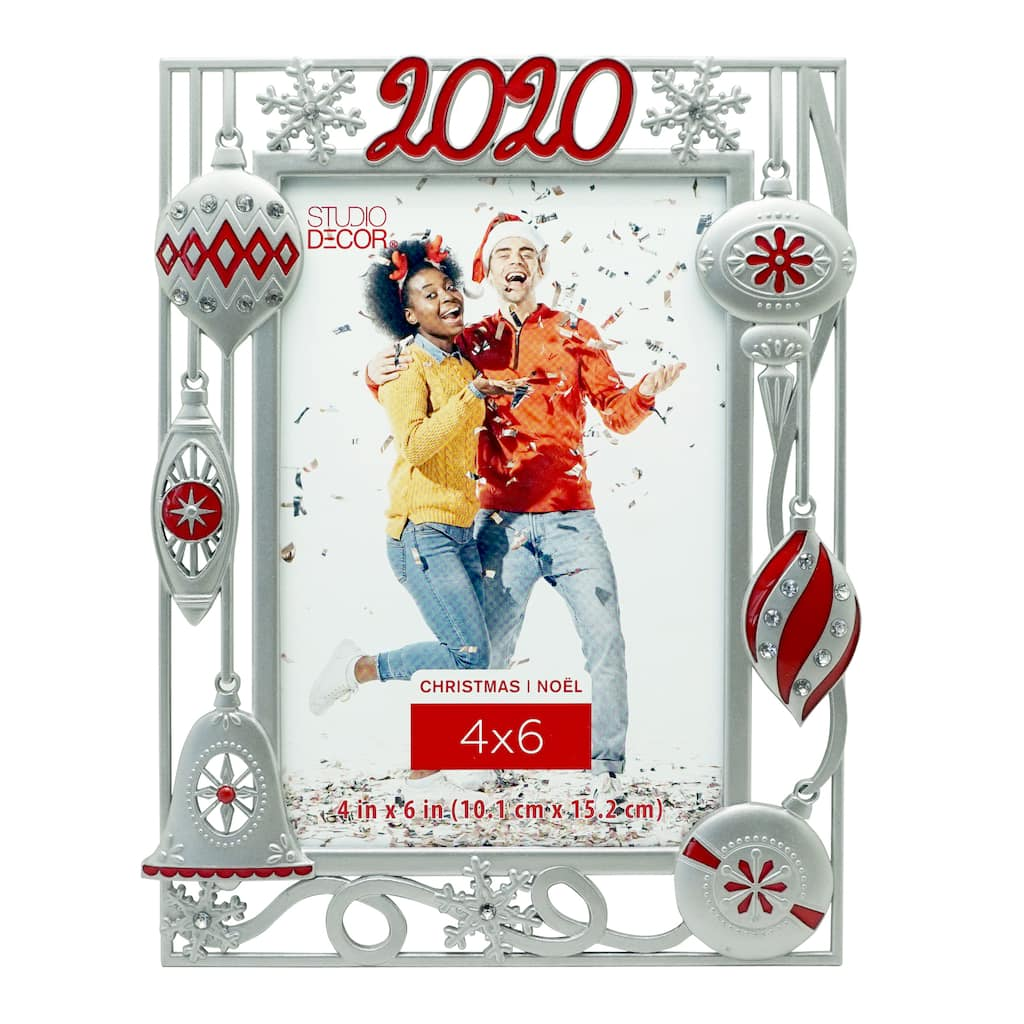 2020 4x6 Christmas Frame 2020 Silver Ornaments 4
