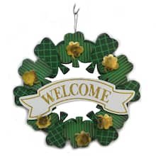 Welcome Shamrocks Wood Wreath