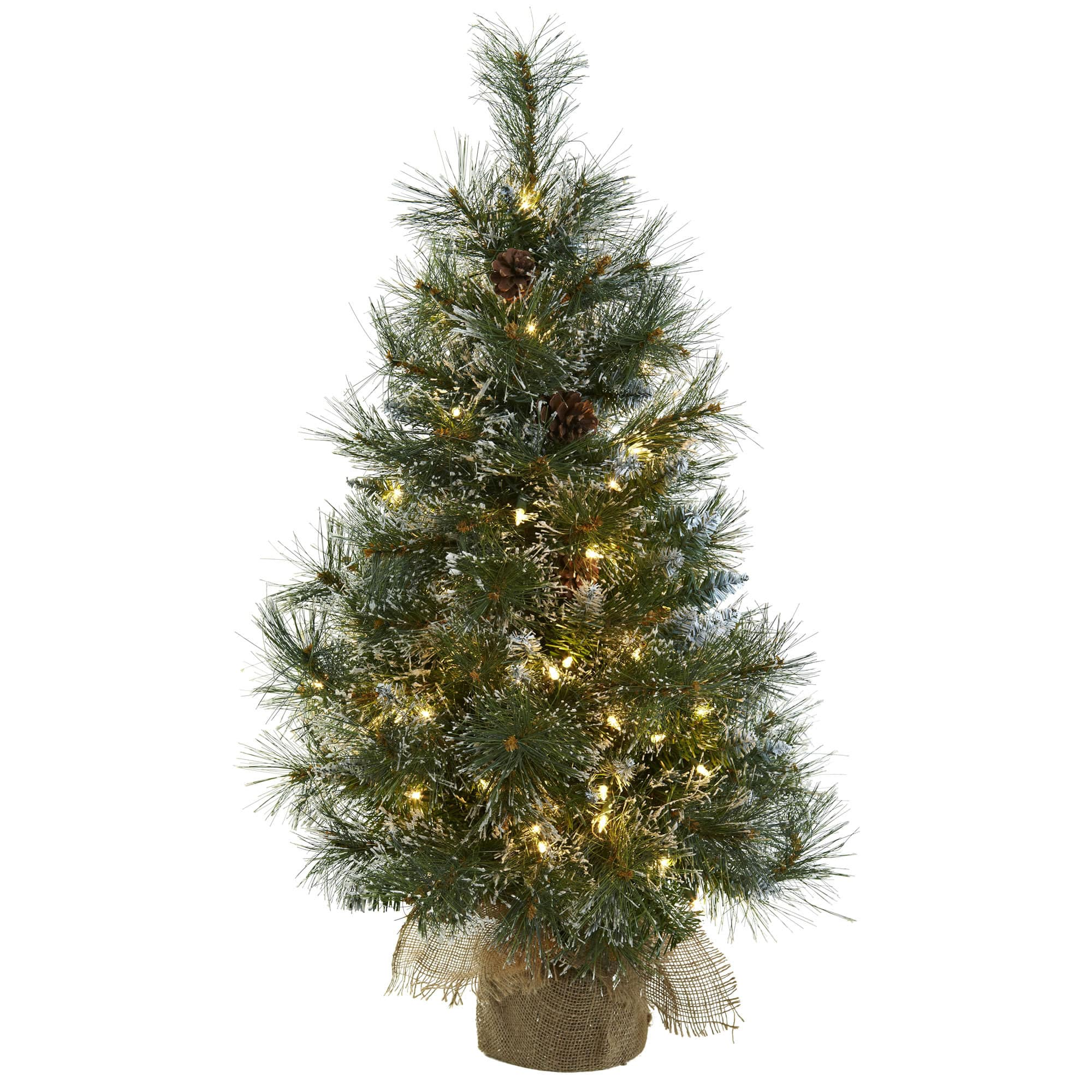 3ft Pre Lit Frosted Artificial Christmas Tree With Pinecones Clear Lights Michaels